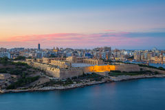 Panoramic view of Malta from Valletta at blue hour - Malta Stock Photography