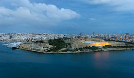 Panoramic view of Maltese Islands. Malta. Panoramic view of Marsamxett Harbour and Manoel Island from the walls of Valletta in the morning Stock Photos