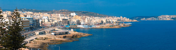 Panoramic view of maltese town Bugibba. And its bay area Stock Photos