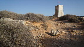 Panoramic view of  Maltese typical knight tower. On the sky background Stock Photos