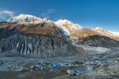 Panoramic view of Manang valley and Annapurna mountains range Royalty Free Stock Photo