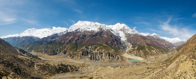 Panoramic view of Manang valley in Nepal Stock Images