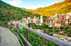 Panoramic view of Manarola village Stock Photos