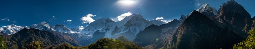 Panoramic view at Manaslu mountain range in Nepal.  royalty free stock photos