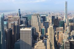 Panoramic view of Manhattan as seen from the Empire State Buildi. Manhattan, New York, USA -  May 27, 2015: Panoramic view of Midtown Manhattan as seen from the Royalty Free Stock Photography