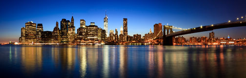 Panoramic view of Manhattan. From Brooklyn Royalty Free Stock Images