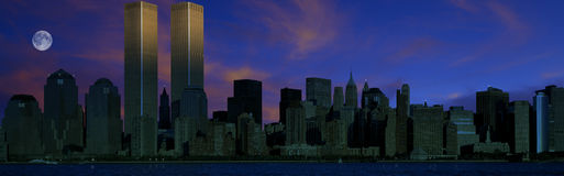 Panoramic view of Manhattan skyline at night Stock Image