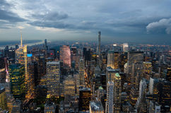 Panoramic view of Manhattan skyline at night Stock Photos
