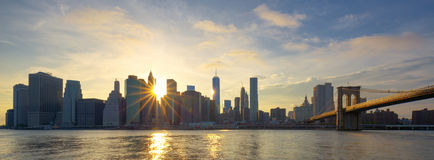 Panoramic view of Manhattan at sunrise Royalty Free Stock Photography