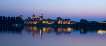 Panoramic view of Mantova. City and Palazzo Ducale Royalty Free Stock Image