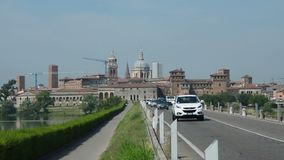 Panoramic view of Mantua with the provicial road, Italy.  stock video