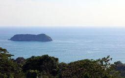 Panoramic view of Manuel Antonio national park beach in Costa Rica, most beautiful beaches in the world, surfer beaches in America. Panoramic view of Manuel royalty free stock photos