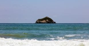 Panoramic view of Manuel Antonio national park beach in Costa Rica, most beautiful beaches in the world, surfer beaches in America. Panoramic view of Manuel royalty free stock photo