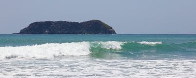 Panoramic view of Manuel Antonio national park beach in Costa Rica, most beautiful beaches in the world, surfer beaches in America. Panoramic view of Manuel stock images