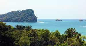 Panoramic view of Manuel Antonio national park beach in Costa Rica, most beautiful beaches in the world. Central America pacific ocean stock photography