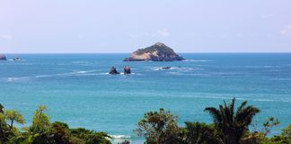 Panoramic view of Manuel Antonio national park beach in Costa Rica, most beautiful beaches in the world. Central America pacific ocean royalty free stock image
