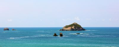 Panoramic view of Manuel Antonio national park beach in Costa Rica, most beautiful beaches in the world. Central America pacific ocean stock photo