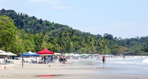 Panoramic view of Manuel Antonio national park beach in Costa Rica, most beautiful beaches in the world, surfer beaches in America Stock Photo