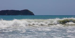 Panoramic view of Manuel Antonio national park beach in Costa Rica, most beautiful beaches in the world, surfer beaches in America. Panoramic view of Manuel royalty free stock image
