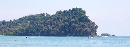 Panoramic view of Manuel Antonio national park beach in Costa Rica, most beautiful beaches in the world, surfer beaches in America Royalty Free Stock Photo