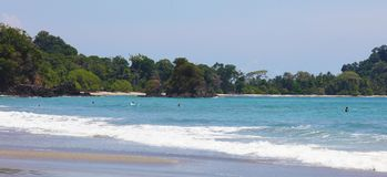 Panoramic view of Manuel Antonio national park beach in Costa Rica, most beautiful beaches in the world, surfer beaches in America stock photography