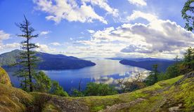 Panoramic view of Maple Bay and Gulf Islands in Vancouver Island, Canada royalty free stock image