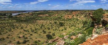 Panoramic view in Mapungubwe National park, South Africa. Zimbabwe river view in Mapungubwe National park, South Africa royalty free stock photos