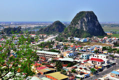 Panoramic view of Marble hills, Vietnam royalty free stock photo