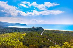 Panoramic view of Maremma Regional or Uccellina Park. Tuscany, I. Panoramic view of Maremma Regional Park also known as Uccellina Park. Tower, forest and sea Stock Photos