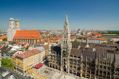 Panoramic view of the Marienplatz is a central square in the city centre of Munich, Germany Royalty Free Stock Image