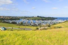 Panoramic view of marina, Auckland, New Zealand. Panoramic view of marina, Gulf Harbour, Auckland, New Zealand, horizontal photo, photo took in New Zealand Stock Photos