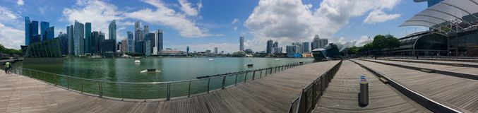 Panoramic view of Marina Bay overlooking the bay and Singapore city centre and The Shoppes. Panoramic view of Marina Bay overlooking the bay and Singapore city Stock Images