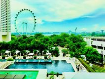 Panoramic view of the Marina Bay in Singapore is very common in Hong Kong royalty free stock photos