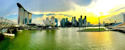 Panoramic view of the Marina Bay in Singapore royalty free stock image