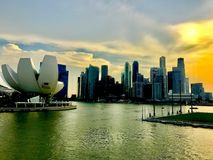 Panoramic view of the Marina Bay in Singaporeis very common in Hong Kong royalty free stock image