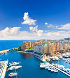 Panoramic view of marina with beautiful blue sky Royalty Free Stock Photography