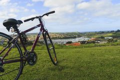 Panoramic view of marina and bicycle. Gulf Harbour, Auckland, New Zealand, horizontal photo, photo took in New Zealand, photo is usable on picture post card Stock Images