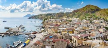 Panoramic view of Lipari town stock photography