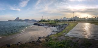 Panoramic view of Marina da Gloria Beach skyline with Corcovado and Sugar Loaf Mountain on background - Rio de Janeiro, Brazil. Panoramic view of Marina da royalty free stock photos
