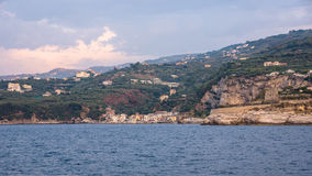 Panoramic view of Marina di Puolo at sunset. Panoramic view of Marina di Puolo on Sorrentine peninsula, Campania Italy Royalty Free Stock Photos