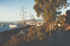 Panoramic view at the Marina place in Malaga. Malaga is the second-most populous city of Andalusia and the sixth-largest in Spain. royalty free stock photos
