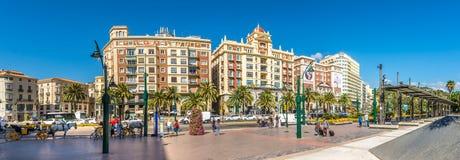 Panoramic view at the Marina place in Malaga - Spain Stock Photos