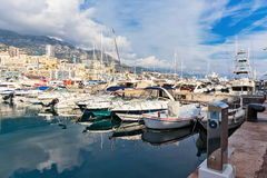 Panoramic view on marina and residential buildings in Monte Carl Stock Images
