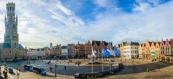 Panoramic view of Market Square in Bruges, Belgium Royalty Free Stock Photo