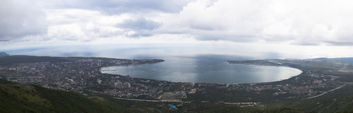 Panoramic view from the Markotkhsky ridge on Gelendzhik cloudy summer day Stock Images