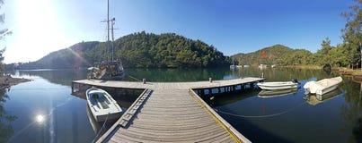 Marmaris Longoz Bay. A panoramic view of Marmaris Longoz Bay with a wooden landing stock image