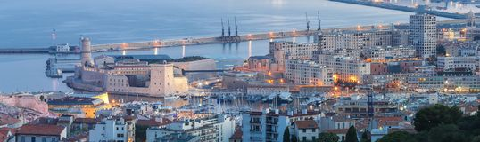 The beautiful panoramic night view of Marseille France Royalty Free Stock Photo