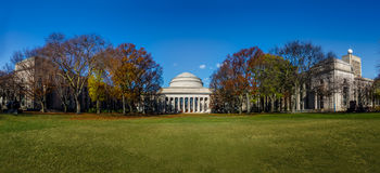 Panoramic view of Massachusetts Institute of Technology MIT Dome - Cambridge, Massachusetts, USA. Massachusetts Institute of Technology MIT Dome in Cambridge Stock Images