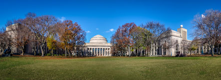 Panoramic view of Massachusetts Institute of Technology MIT Dome - Cambridge, Massachusetts, USA. Massachusetts Institute of Technology MIT Dome in Cambridge Royalty Free Stock Image