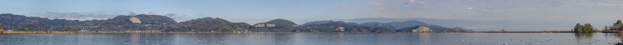 Panoramic view of Massaciuccoli Lake from Torre del Lago Puccini, Lucca, Tuscany, Italy. Europe stock images
